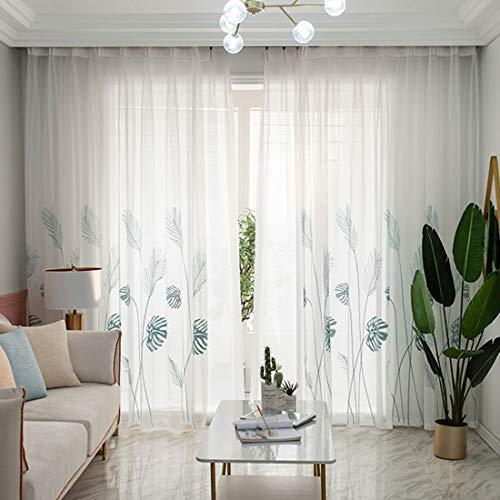 cortina visillo bordado